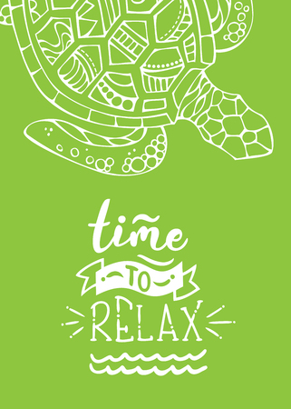 White outline turtle on bright green background. Unique calligraphic phrase written by brush. Wild life. Ready-to-use vector print for your design.