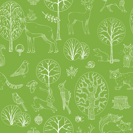 Linear wild animals and birds. Fox, moose, deer, bear, squirrel, beaver, raccoon, woodpecker, hedgehog and others. Trees, leaves, seeds and mushrooms. Illustration