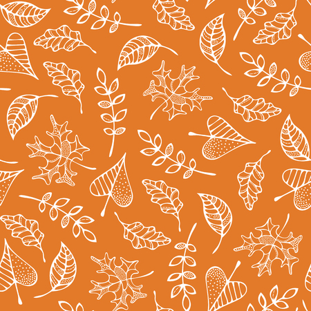 White linear maple, oak, rowan, ash and linden leaves on colored background. Fall boundless background. Tileable elements.