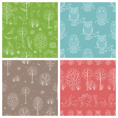 Cute outline wild animals and birds, autumn trees and bushes. Fox, moose, deer, bear, squirrel, raccoon, hedgehog and others. Vector tileable backgrounds.