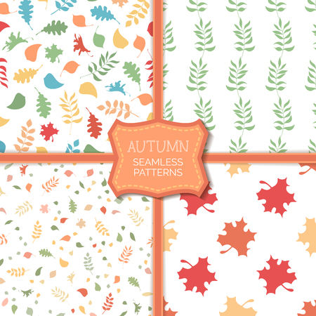 Vector set of seamless pattern of autumn leaves. Colourful boundless background. Tileable elements.