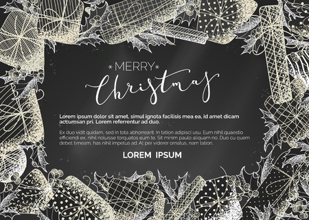 Chalk horizontal template with hand-drawn stipple texture on blackboard background. Mistletoe leaves and berries, gifts. There is copyspace for your text.
