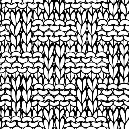 Doodles geflochtenes Strickmuster. Schwarzweiss-handgezeichneter Baumwollstoffhintergrund. Hochdetailliertes, handgestricktes Wollmaterial.