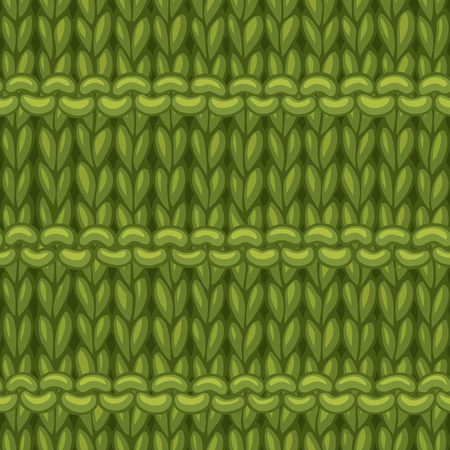 Hand-drawn jersey cloth boundless background. High detailed green woollen hand-knitted fabric material. Stock Illustratie
