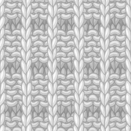 Handgezeichneter Jerseystoff grenzenloser Hintergrund. Hochdetailliertes weißes, handgestricktes Wollmaterial.