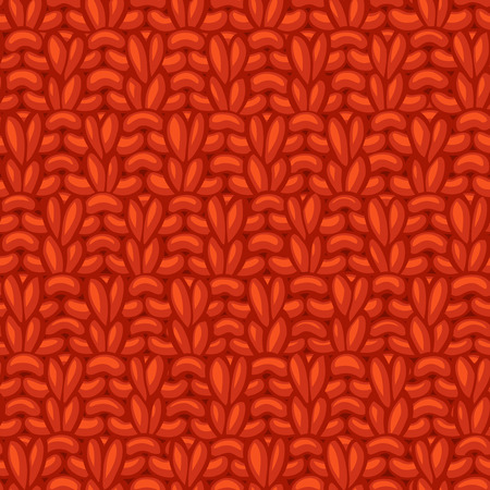 American Moss Stitch. Ð¡otton hand-knitted fabric material. High detailed knitting boundless background. Hand-drawn red jersey knitwear.