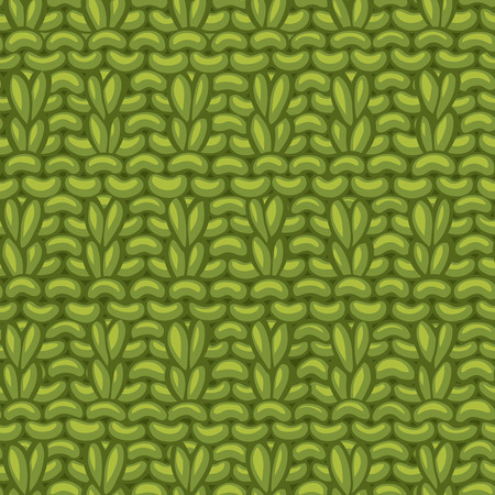 Hand-knitted green boundless background. High detailed knitting fabric material. Hand-drawn woollen knitwear. Stock Illustratie