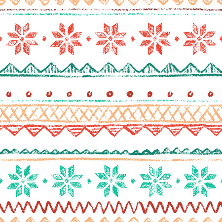 Scandinavian boundless background. Vector red and green hand-drawn illustration.