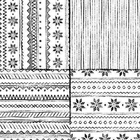Norwegian star boundless background. Vector hand-drawn illustration. Black and white. Stock Illustratie