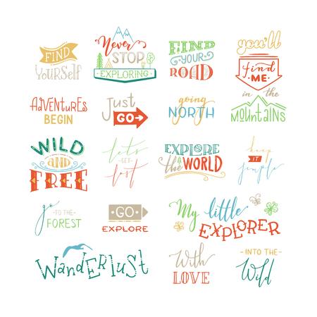 Les aventures commencent. Juste aller. Allez explorer. Trouve-toi. Peut être utilisé pour la conception d'affiches, de vêtements et de bannières inspirantes.