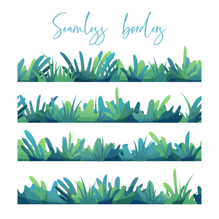 Green and blue grass isolated on white background. Boundless summer design elements. Vector Illustration