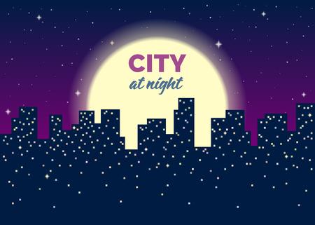 Silhouettes de maisons, lumières dans les fenêtres, lune et étoiles dans le ciel. Fond bleu foncé. Plate illustration vectorielle avec texture de bruit. Il y a un espace de copie pour votre texte.