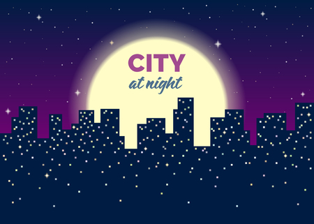 Silhouettes of houses, lights in windows, moon and stars in the sky. Dark blue background. Vector flat illustration with noise texture. There is copy space for your text. Иллюстрация