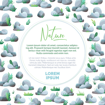 Grey rocks with grass and leaves on white background. Flat illustration with modern noise texture, lights and shadows. There is copy space for your text. Ilustração