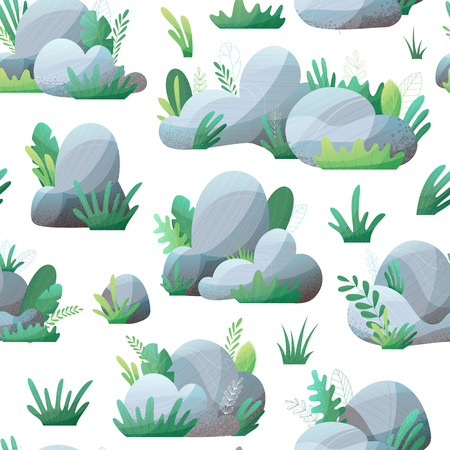 Grey stones with grass and leaves on white. Nature boundless background. Flat illustration with modern grain texture, lights and shadows. Ilustração