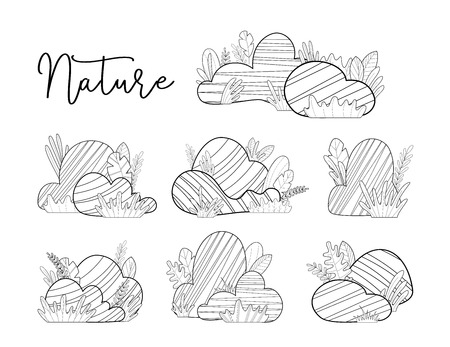 Big and small stones with grass and leaves isolated on a white background. Black and white doodles illustration. Elements for your design.