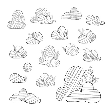 Big and small stones with grass and leaves isolated on a white background. Duotone doodles illustration. Elements for your design. Ilustração