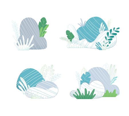 Various stones with grass and leaves on a white background. Nature collection of flat and outlined elements.