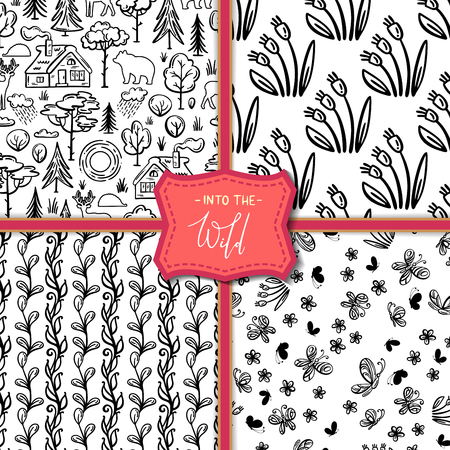 Linear house in the woods, trees and bushes, wild deer, bear, hedgehog, flowers and butterflies. Black and white boundless backgrounds for your design.