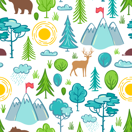 Trees and bushes, mountains, wild animals (deer, bear, hedgehog). Bright boundless background for your summer design. Ilustrace