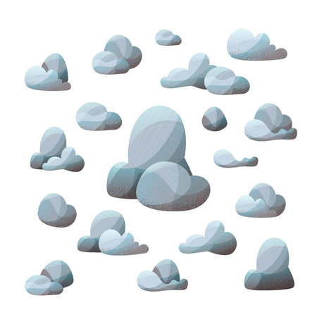 Grey rocks with lights and shadows isolated on white background. Flat illustration with modern stipple texture. Ilustração