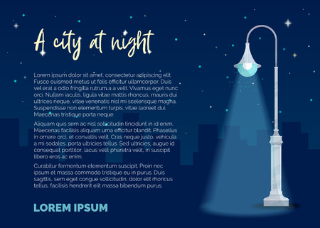 Street light on dark blue background. Silhouettes of houses, stars in the sky. Vector flat illustration. Modern noise texture. There is copyspace for your text. Ilustração
