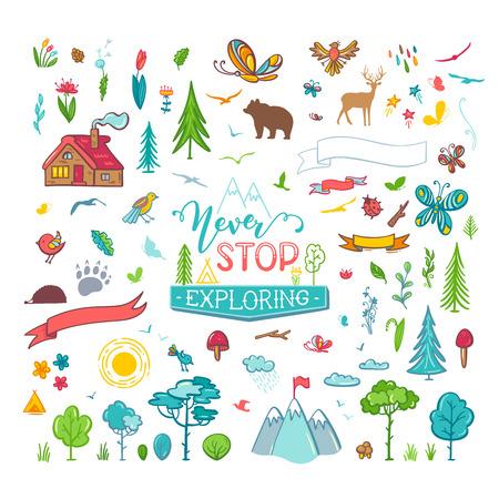 Bäume, wilde Tiere, Berge, Schmetterlinge, Blumen, Blätter usw. Illustrationen sind Cartoon-Stil auf weißem Hintergrund. Kann für Aufkleber und Patches verwendet werden.