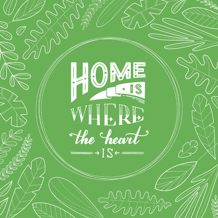Home is where the heart is. White contours of leaves and grass on a green background. Duotone linear illustration.