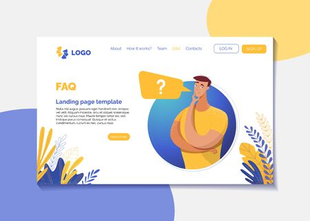 Corporate FAQ landing page flat vector template. Company web page design layout with text space. Cartoon boy, man with speech bubble in round frame. Q&A, user registration, need help website page