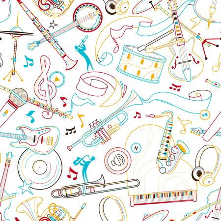 Jazz music hand drawn outline seamless pattern. Flute, ribbon, headphones line art texture. Colored contour string, woodwind instruments on white background. Concert performance background design Illustration