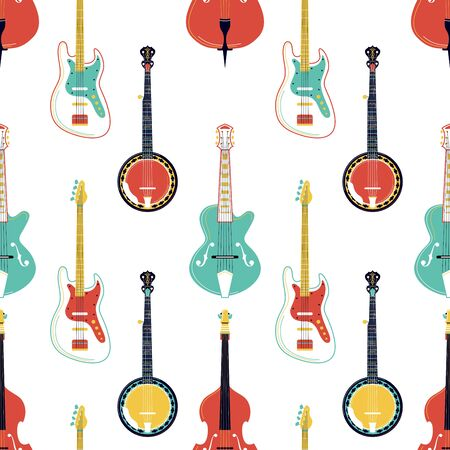Strumming music instruments vector seamless pattern. Electric guitar, banjo, cello texture. String instruments wallpaper. Classical orchestra performance, rock concert, music festival background Illustration