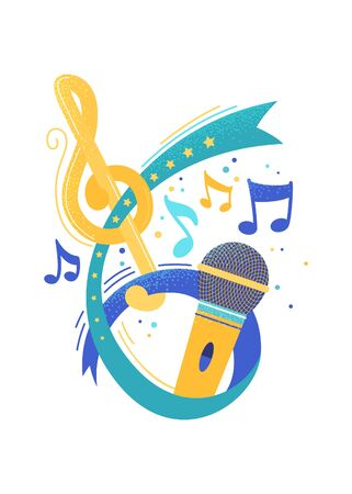Retro microphone and music notes flat vector illustration. Song contest, vocal show. Singer, artist performance. Illustration