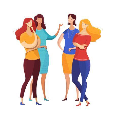Ilustración de vector plano de conversación de chicas. Grupo de mujeres que comparten noticias, secretos, chismes de personajes aislados. Interacción de despedida de soltera, diálogo. Colegas hablando durante la pausa para el almuerzo Logos