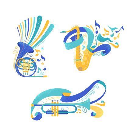 Ensemble d'illustrations vectorielles à plat d'instruments de musique en laiton. Trompette et saxophone avec rubans. Cor français et saxophone avec pack de cliparts isolés de notes. Éléments de conception d'équipement d'orchestre à vent