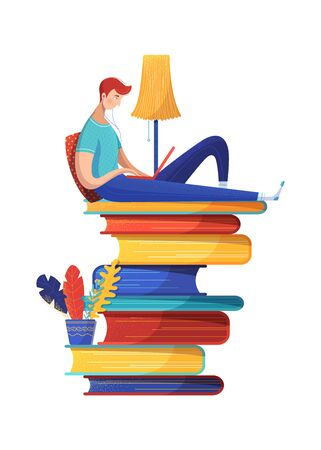Man reading ebook flat vector illustration. Digital library archive isolated clipart on white background. Male cartoon character studying online, freelancer remote working. Internet self education
