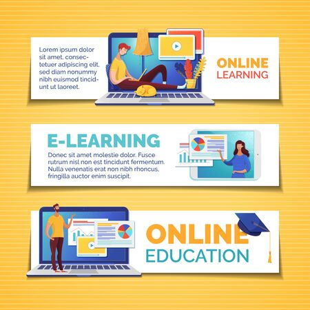 E learning and remote education web banners templates set. Data analytics, infographics visualization Internet course illustrations pack with text space. Video tutorials horizontal posters design