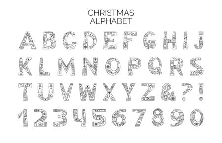 Christmas alphabet vector outline typeset. Uppercase letters with winter season holiday linear ornament. Numbers and symbols with black and white xmas items set. New Year celebration creative font