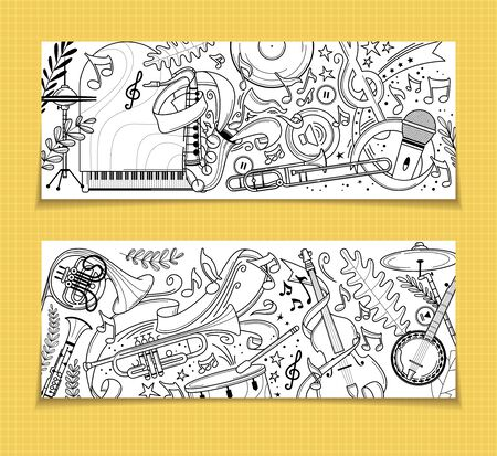 Musical instruments outline vintage backgrounds set. Grand piano, trumpet, flute doodle drawing. Trumpet, violin, drums vector line art. Jazz festival, blues concert retro style backdrops pack Illustration