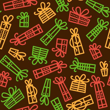Festive presents vector seamless pattern. Birthday, Christmas holidays linear surprises with ribbons background.