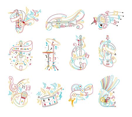 Musical instruments outline vector illustrations set. Cello, drum cymbals, percussion, woodwind and string instruments colourful line art on white background.