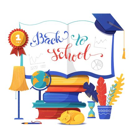 Back to school banner flat vector template. Open notebook illustration with calligraphy. Cartoon textbooks stack and sleeping cat isolated clipart. Education and knowledge poster design Ilustração