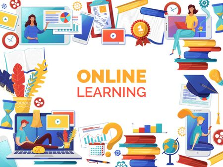 Online self education web banner flat vector template. Elearning, Internet courses and remote business analytics classes poster design. Woman reading ebooks, man watching video tutorials characters Иллюстрация