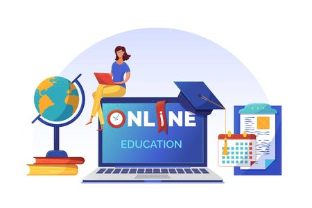 Online courses planning banner flat vector template. Woman studying on Internet cartoon character. Open laptop with typography on screen. Elearning, Internet courses, university distant program Иллюстрация