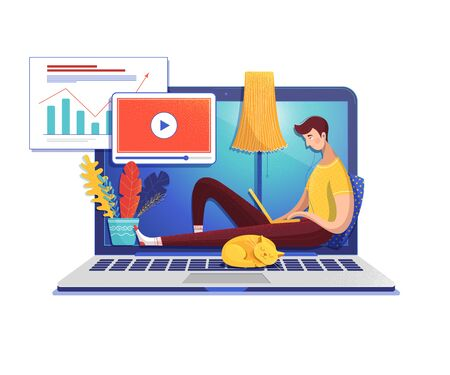 Man studying online flat vector illustration. Student cartoon character watching data analysis video lesson. School, university Internet class. E learning, self education. Guy and cat on laptop Иллюстрация