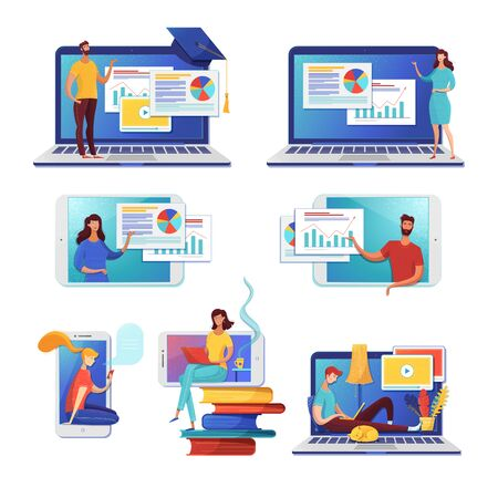 Internet learning flat vector illustrations set. Online courses, self education. Female cartoon character using ereading app, digital library archive. Business analysis, data analytics distant classes