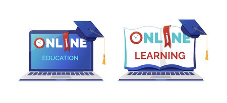 Online learning and education flat vector illustrations set. Laptop and mortar board isolated cliparts pack. Elearning, distance school classes, Internet course. Remote university academic degree
