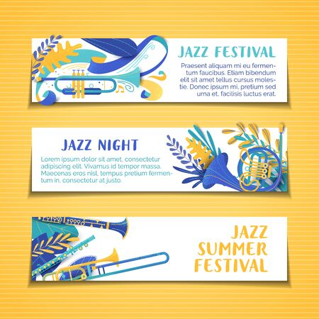 Jazz summer festival vector hand drawn banner templates set. Musical concert, performance poster. Brass instrument cartoon illustration. Music night colorful, vibrant flyers with copyspace Illustration