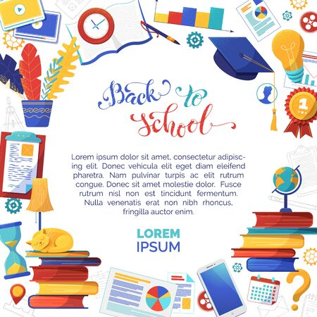 Back to school flat vector banner template with text space. Office stationery shop social media post layout. Books, graduation cap illustrations. Online education, elearning and knowledge Ilustração