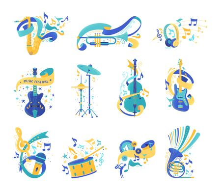 Musical instruments and notes flat illustrations set. Electric guitar, drums, violin. Modern headphones, vintage microphone isolated clip arts. Music festival, jazz concert, audio listening  イラスト・ベクター素材