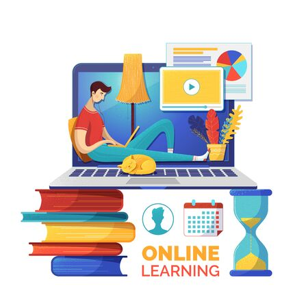 Internet courses flat vector illustration. Online lessons timetable, classes schedule. Student cartoon character watching data analysis video lesson. E learning, self education poster